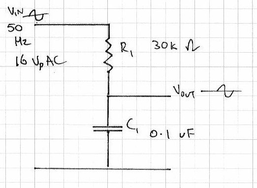 Capacitor in a voltage divider used on a sine wave?   Electronics
