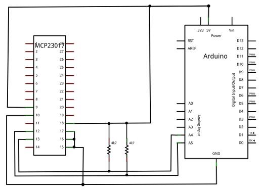 Wiring MCP23017 port expander to Arduino Uno The